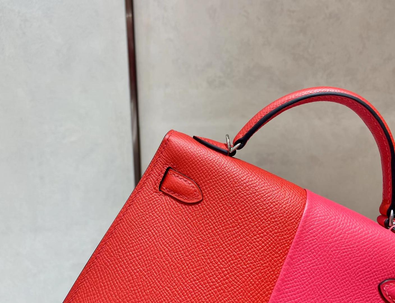 Hermès(爱马仕)miniKelly 迷你凯莉 epsom S3 心红色 拼 i6 极致粉 内拼 B3 坦桑尼亚蓝 二代 银扣
