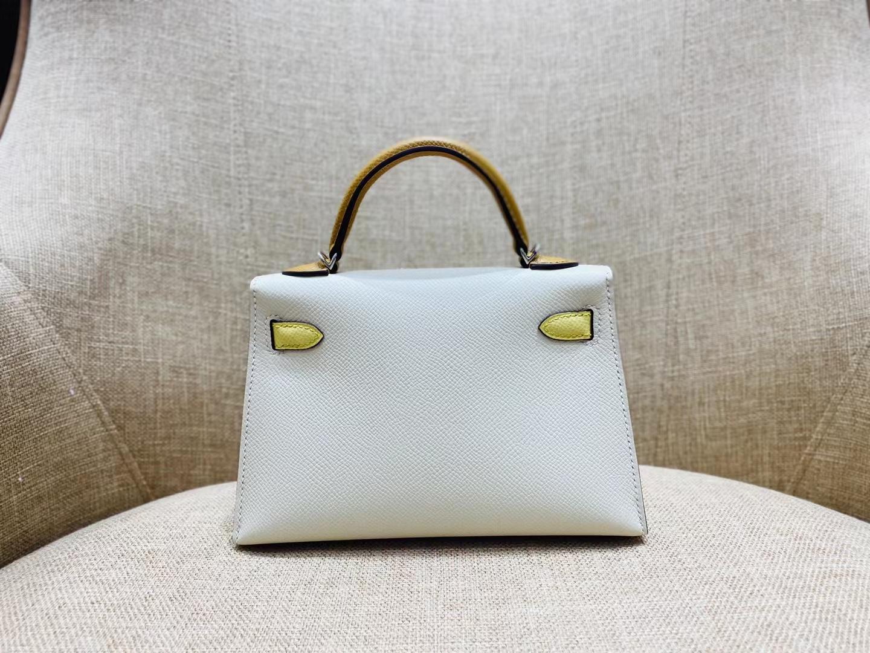Hermès(爱马仕)miniKelly 迷你凯莉 epsom 奶昔白+小鸡黄+芝麻色 二代 银扣 顶级纯手工