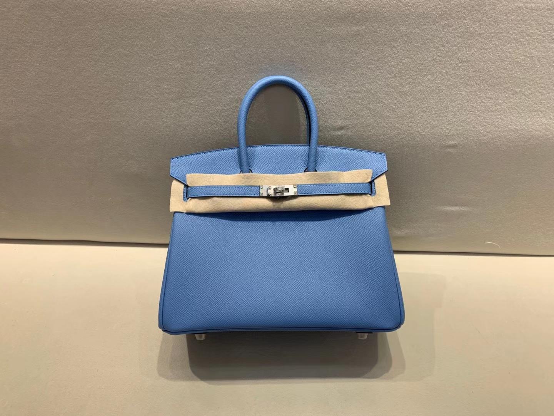 Hermès(爱马仕)Birkin 铂金包 原厂Epsom皮 7N 糖果蓝 银扣 25cm 顶级纯手工