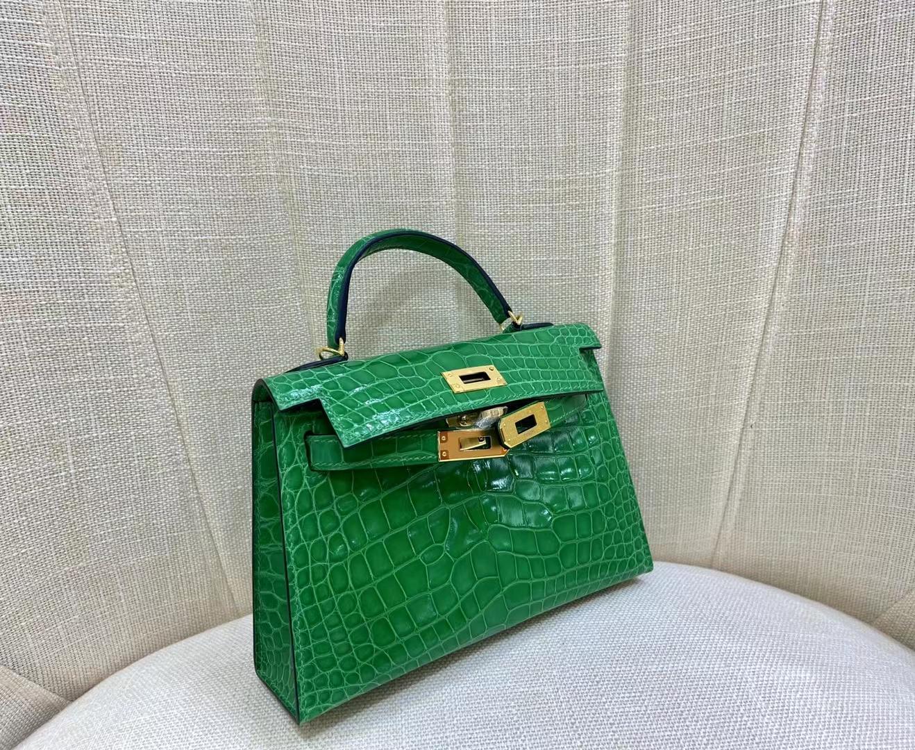 Hermès(爱马仕)miniKelly 迷你凯莉 亮面美洲鳄 6R 仙人掌绿 二代 金扣 顶级纯手工 现货