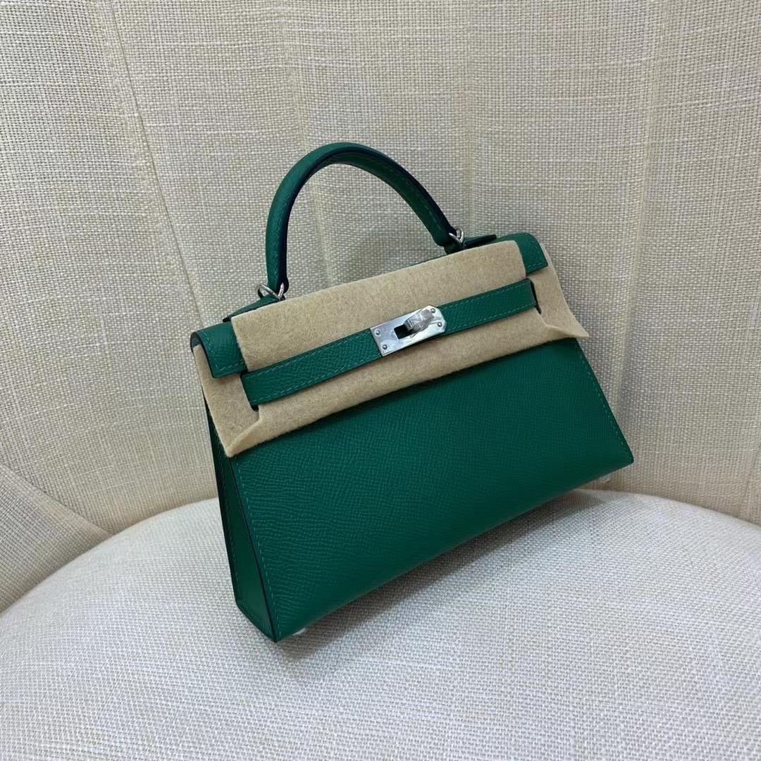 Hermès(爱马仕)MiniKelly 迷你凯莉 1L 仙人掌绿 拼 马卡龙蓝 银扣 二代 顶级纯手工现货