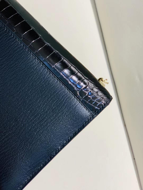 Hermès(爱马仕)Verrou Mini 手枪 插销包 金银渐变扣 黑色 亮面美洲方块+山羊皮 17cm 顶级品质