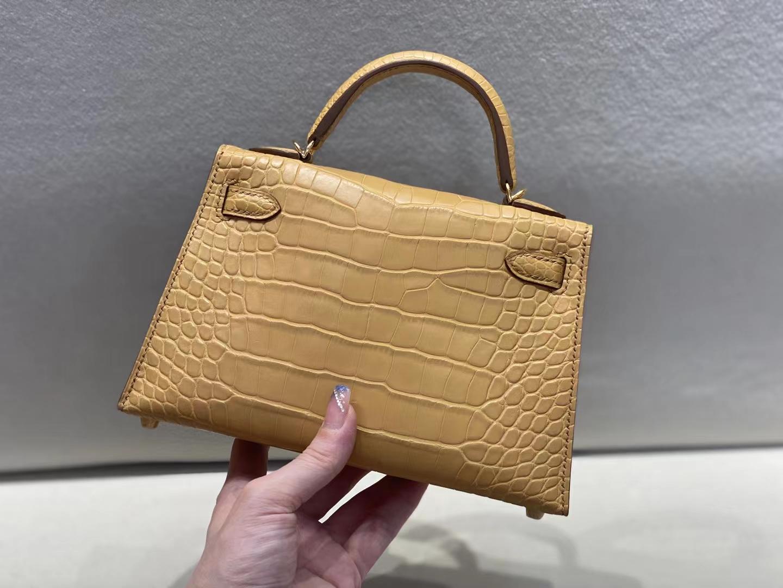 Hermès(爱马仕)miniKelly 迷你凯莉 雾面鳄 大地色 二代 金扣 顶级纯手工 现货