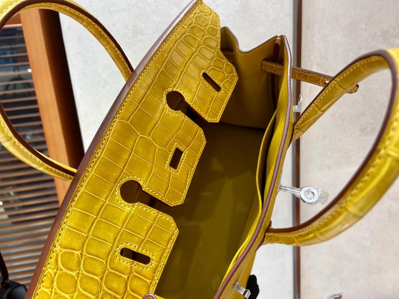 Hermès(爱马仕)Birkin Touch 铂金包 9D 琥珀黄 Togo拼鳄鱼 25cm 银扣 顶级纯手工