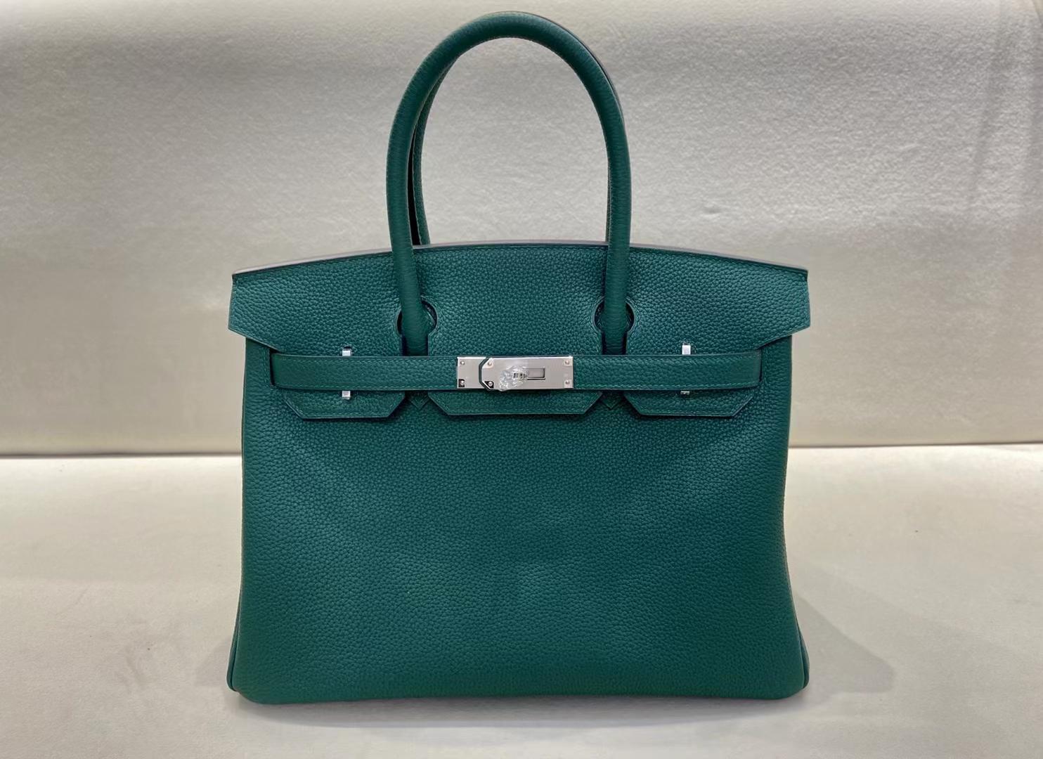 Hermès(爱马仕)birkin 铂金包 法国togo Z6 孔雀绿 Malachite 银扣 30cm 顶级纯手工