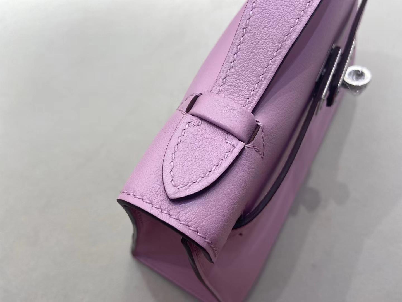 Hermès(爱马仕)miniKelly 迷你凯莉 Swift皮 X9 锦葵紫 一代 银扣 顶级纯手工