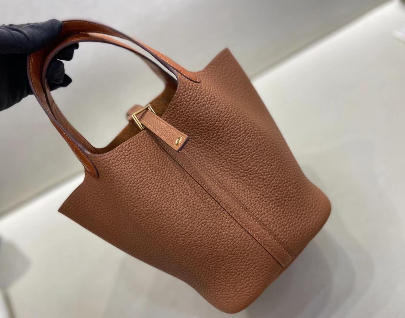 Hermès(爱马仕)Picotin 菜篮子 金棕色 TC 拼 鳄鱼手腕 18cm 金扣 顶级纯手工