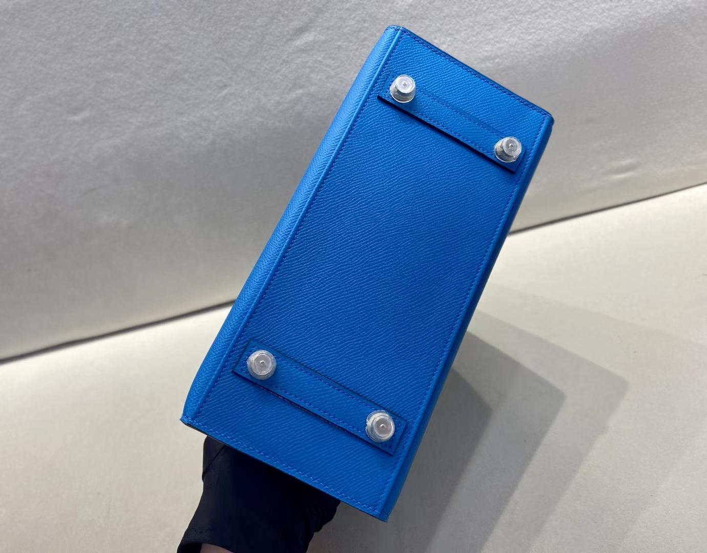 Hermès(爱马仕)birkin 铂金包 epsom皮 0F 弗里达蓝 银扣 25cm 顶级纯手工