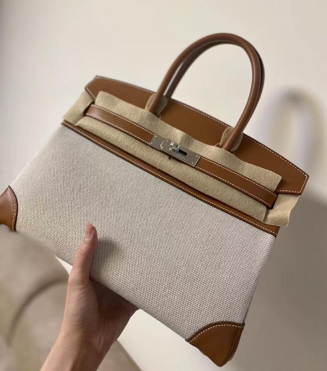 Hermès(爱马仕)Birkin 铂金包 Swift 拼 帆布 银扣 30cm