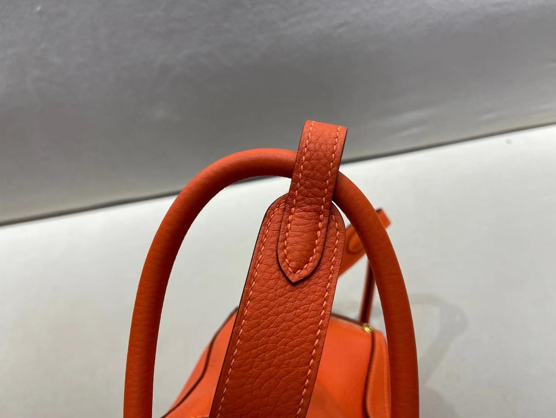 Hermès(爱马仕)Lindy 琳迪包 TC皮 9J 火焰橙 金扣 26cm 顶级纯手工