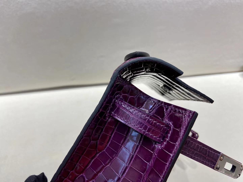 Hermès(爱马仕)miniKelly 迷你凯莉 亮面美洲鳄 N5 加仑紫 一代 银扣 顶级纯手工