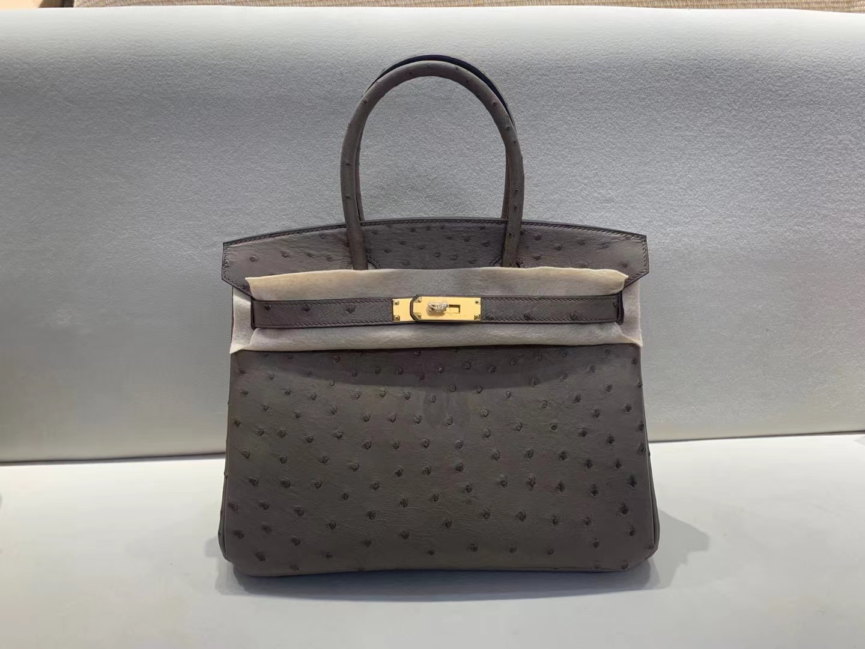 Hermès(爱马仕)birkin 铂金包 新大象灰 原厂鸵鸟皮 金扣 30cm 顶级纯手工