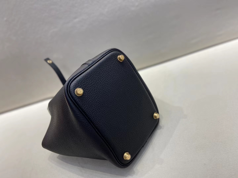 Hermès(爱马仕)Picotin 菜篮子 黑色 TC 拼 鳄鱼手腕 18cm 金扣 顶级纯手工