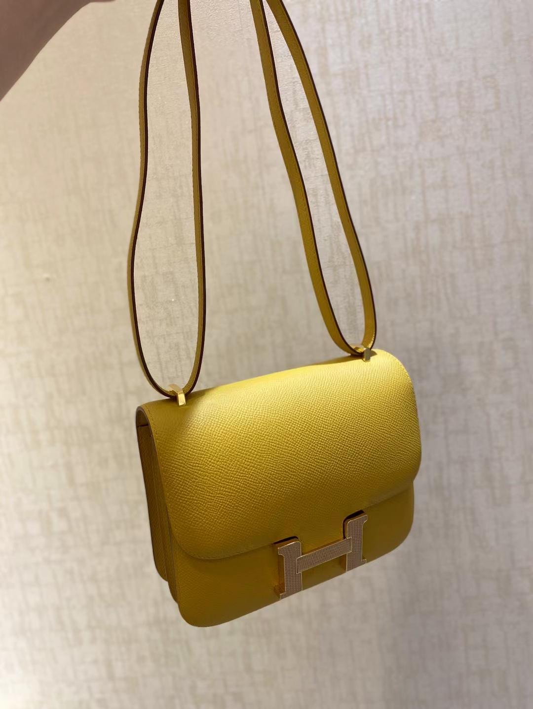 Hermès(爱马仕)Constance 空姐包 9D 琥珀黄 蜥蜴扣 epsom 19cm 顶级纯手工