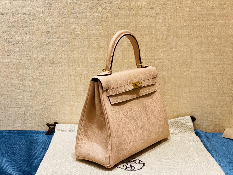 Hermès(爱马仕)Kelly 凯莉包 法国togo 蔷薇粉 金扣 25cm 顶级纯手工